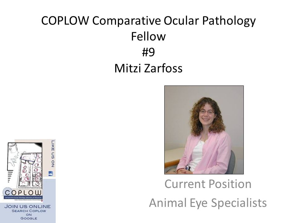 COPLOW Comparative Ocular Pathology Fellow #9 Mitzi Zarfoss Current Position Animal Eye Specialists