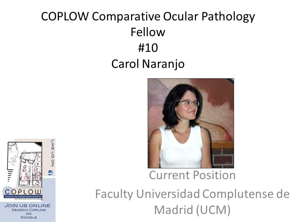 COPLOW Comparative Ocular Pathology Fellow #10 Carol Naranjo Current Position Faculty Universidad Complutense de Madrid (UCM)