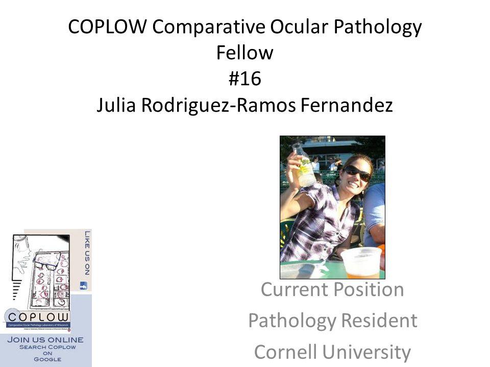 COPLOW Comparative Ocular Pathology Fellow #16 Julia Rodriguez-Ramos Fernandez Current Position Pathology Resident Cornell University