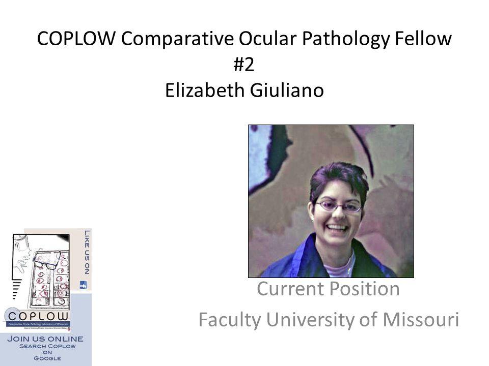 COPLOW Comparative Ocular Pathology Fellow #2 Elizabeth Giuliano Current Position Faculty University of Missouri