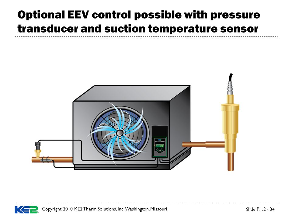 Slide P.1.2 - 34 Optional EEV control possible with pressure transducer and suction temperature sensor