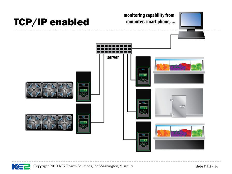 Copyright 2010 KE2 Therm Solutions, Inc. Washington, Missouri Slide P.1.2 - 36 TCP/IP enabled