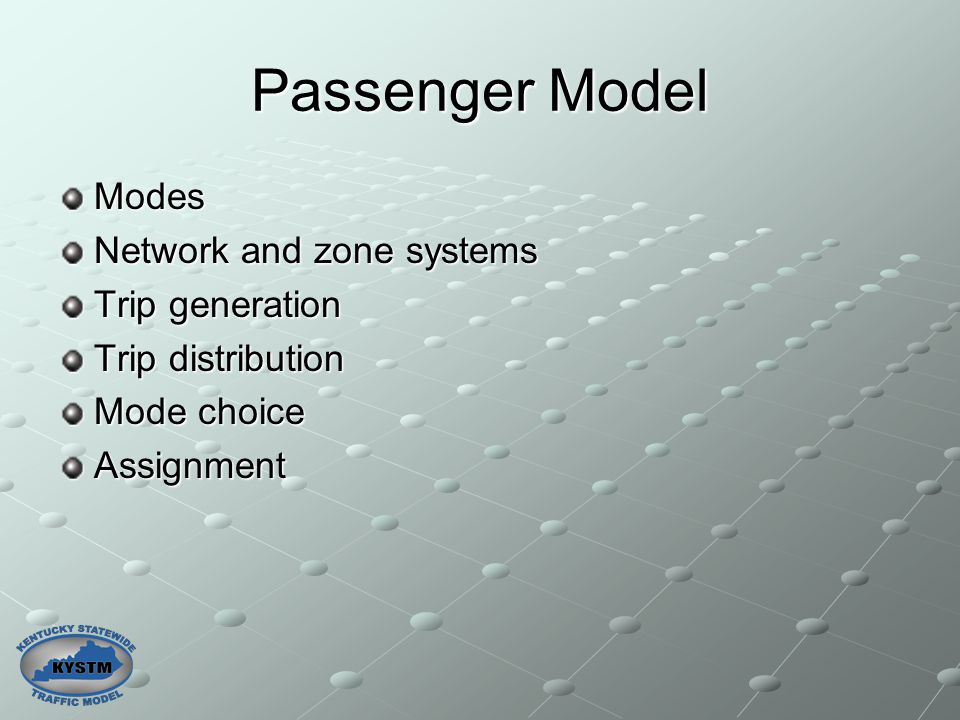 Passenger Model Modes Network and zone systems Trip generation Trip distribution Mode choice Assignment