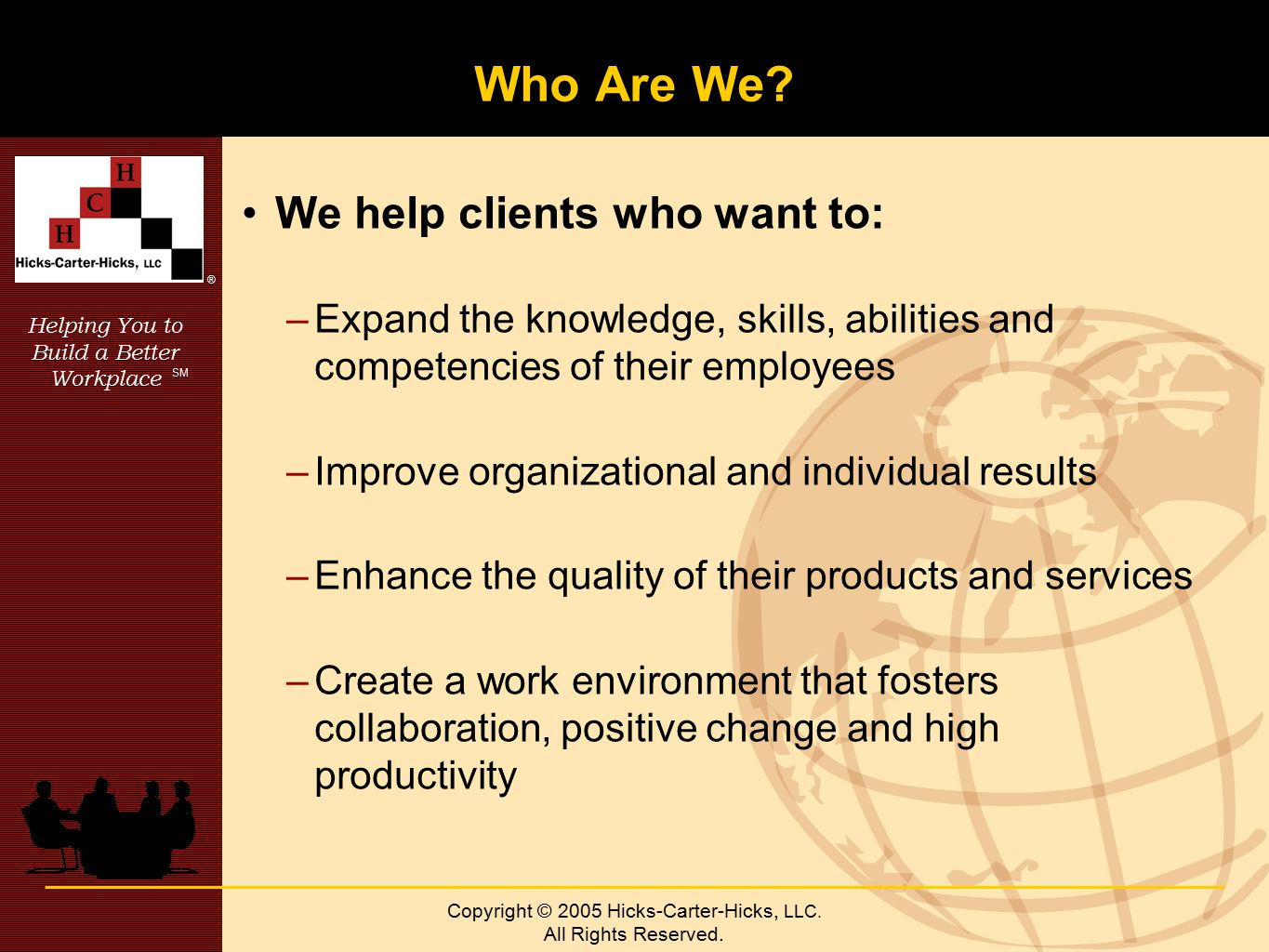 Helping You to Build a Better Workplace SM ® Copyright © 2005 Hicks-Carter-Hicks, LLC.