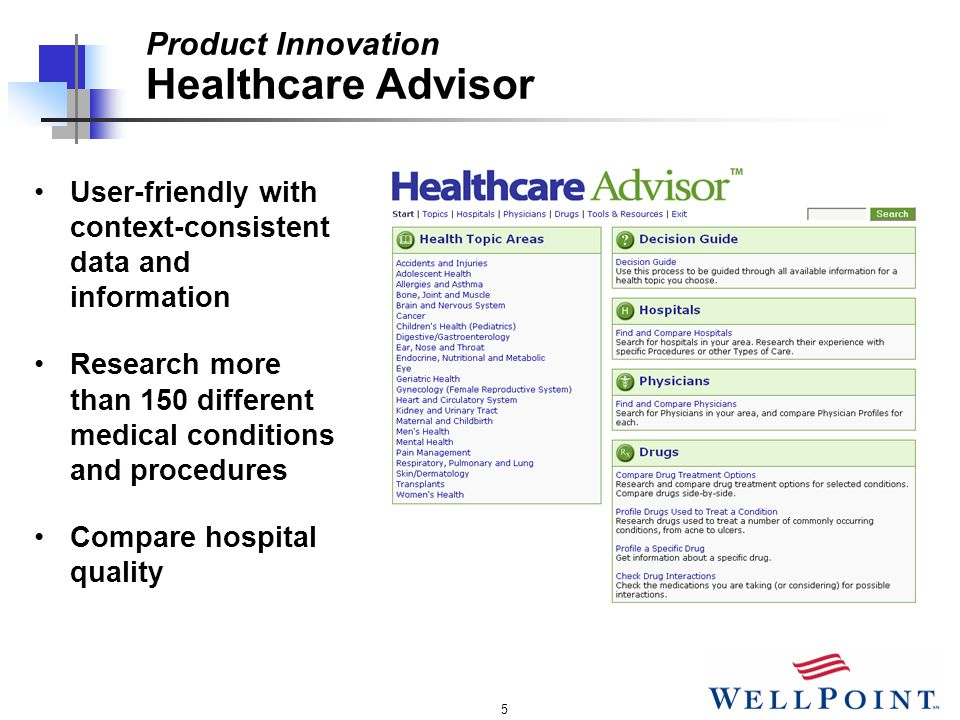 5 User-friendly with context-consistent data and information Research more than 150 different medical conditions and procedures Compare hospital quality Product Innovation Healthcare Advisor