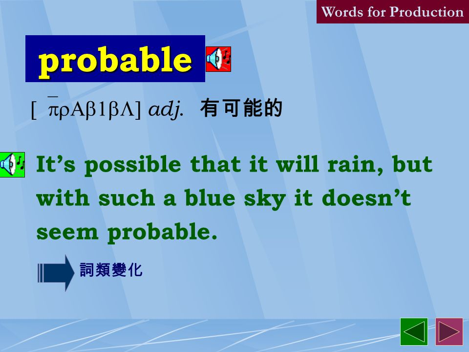 probably 8. [`prAb1blI] adv. likely; almost certainly 或許,大概 I will probably be late tonight, so don't wait for me. Words for Production