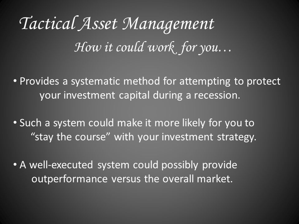 Provides a systematic method for attempting to protect your investment capital during a recession.