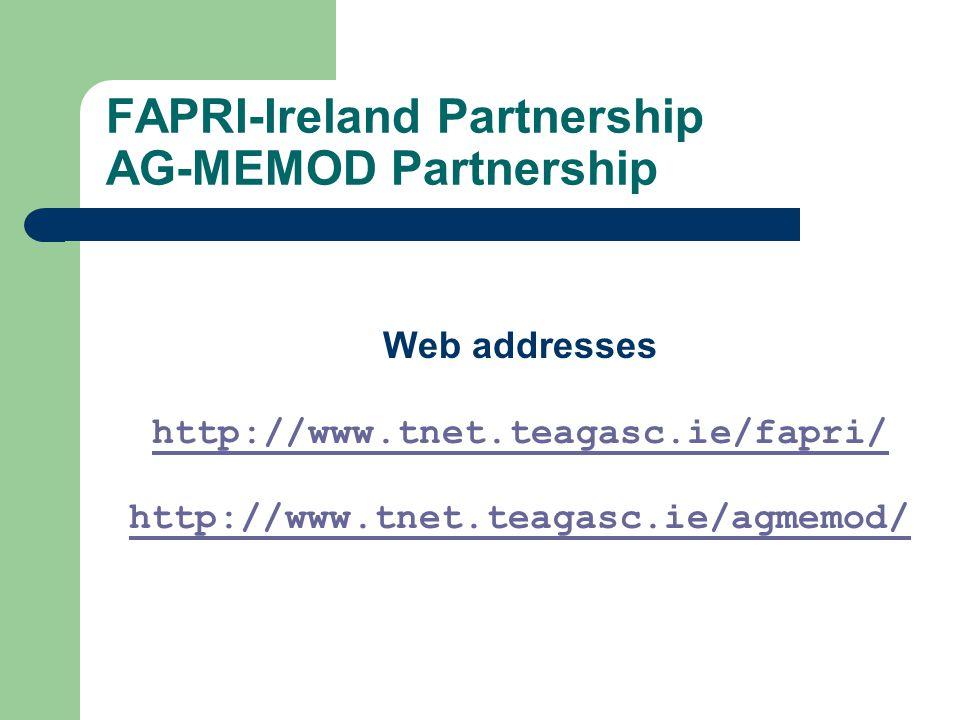 FAPRI-Ireland Partnership AG-MEMOD Partnership Web addresses http://www.tnet.teagasc.ie/fapri/ http://www.tnet.teagasc.ie/agmemod/