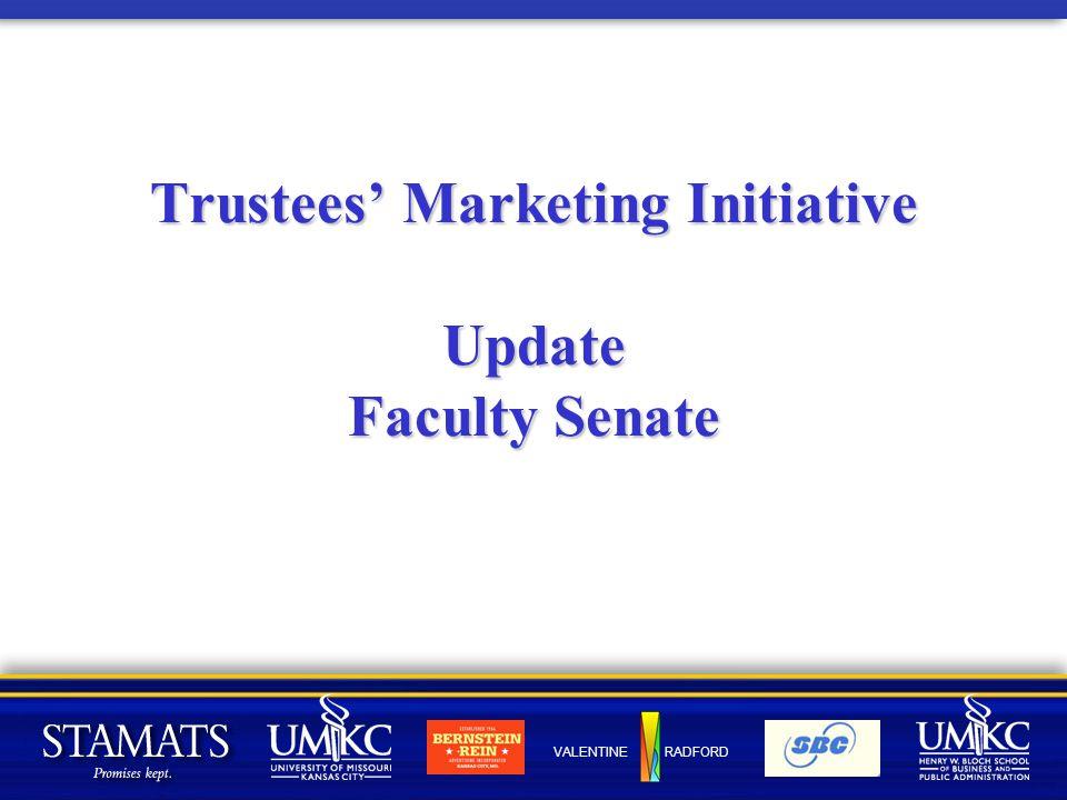 VALENTINE RADFORD Trustees' Marketing Initiative Update Faculty Senate