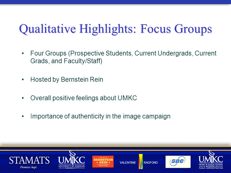 VALENTINE RADFORD Qualitative Highlights: Focus Groups Four Groups (Prospective Students, Current Undergrads, Current Grads, and Faculty/Staff) Hosted by Bernstein Rein Overall positive feelings about UMKC Importance of authenticity in the image campaign