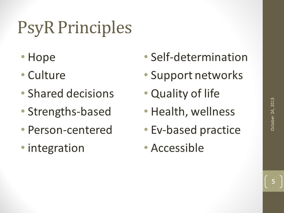 PsyR Principles Hope Culture Shared decisions Strengths-based Person-centered integration Self-determination Support networks Quality of life Health,