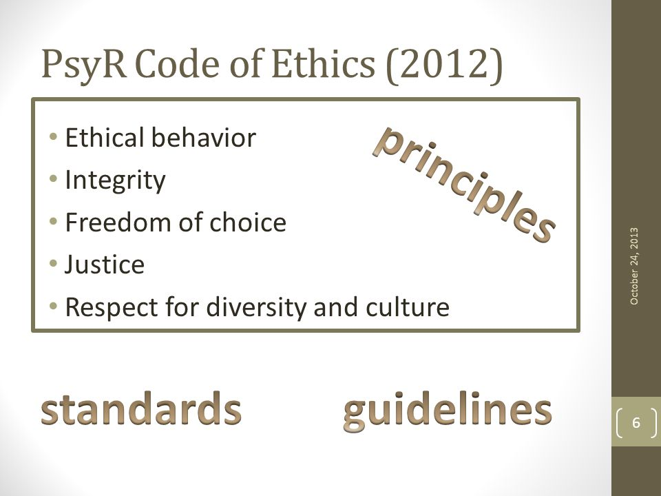 PsyR Code of Ethics (2012) Ethical behavior Integrity Freedom of choice Justice Respect for diversity and culture October 24, 2013 6