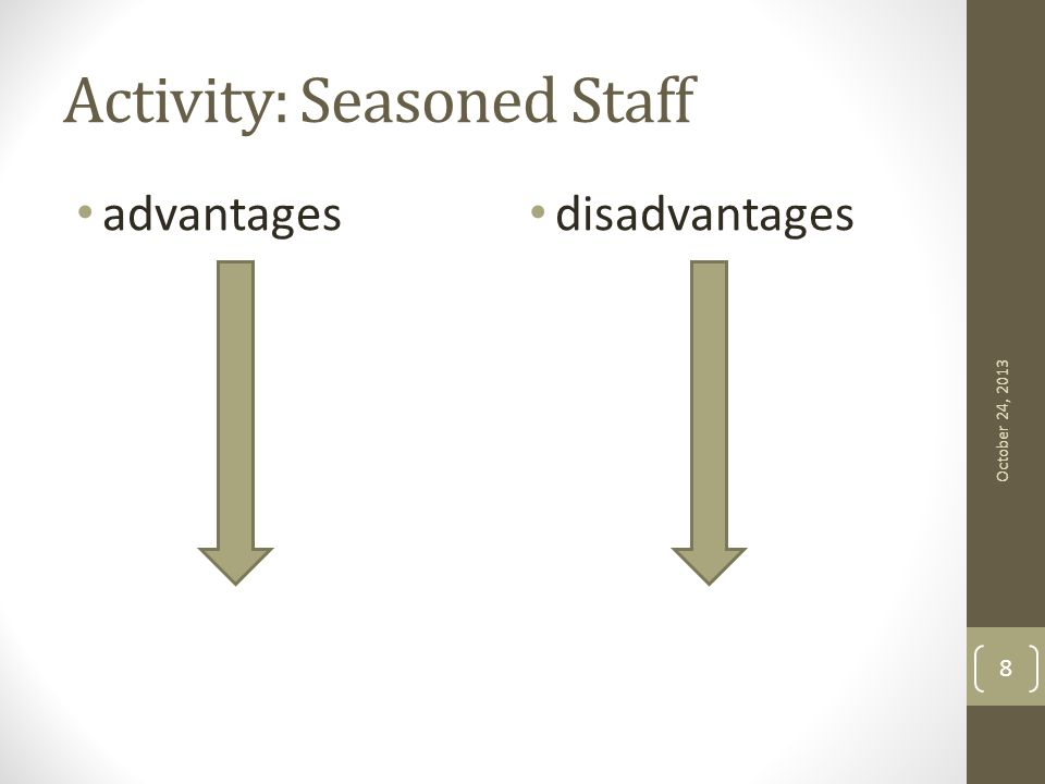 Activity: Seasoned Staff advantages disadvantages October 24, 2013 8