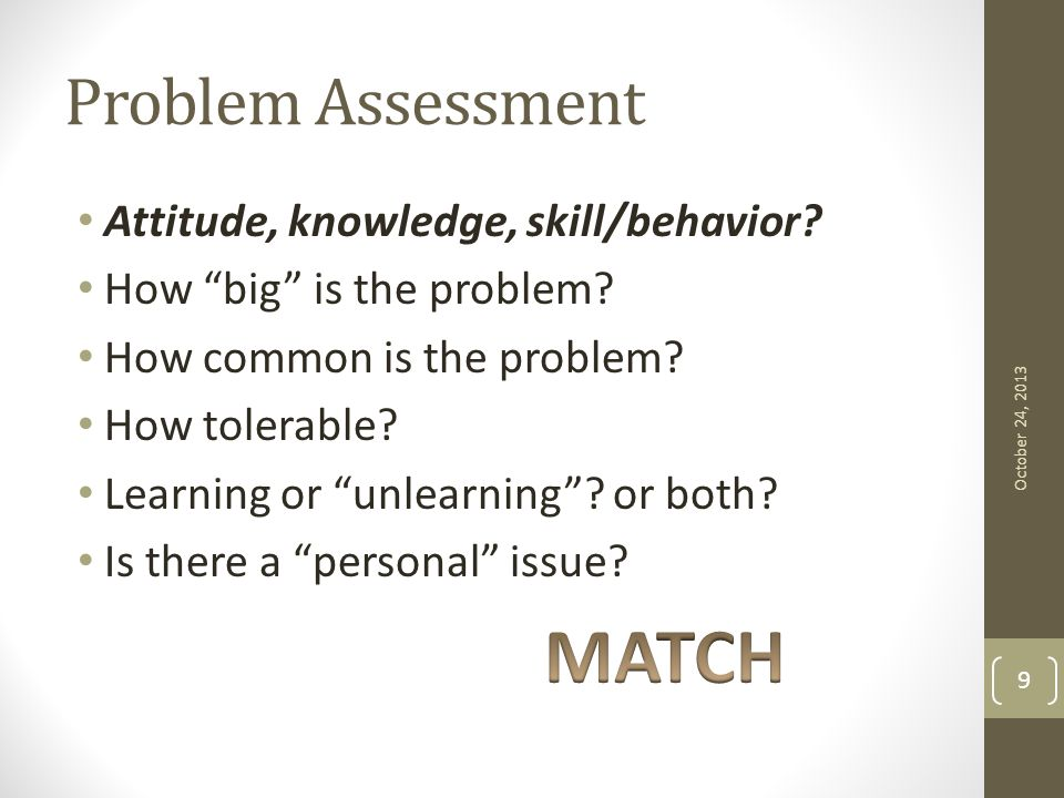 "Problem Assessment Attitude, knowledge, skill/behavior? How ""big"" is the problem? How common is the problem? How tolerable? Learning or ""unlearning""?"