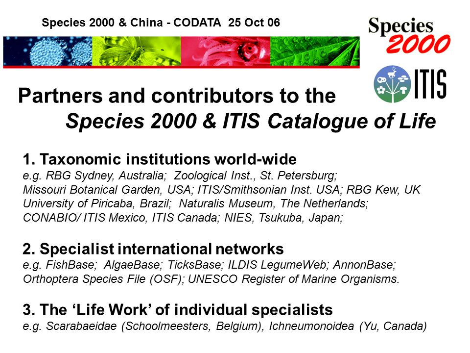 Species 2000 & China - CODATA 25 Oct 06 Partners and contributors to the Species 2000 & ITIS Catalogue of Life 1.