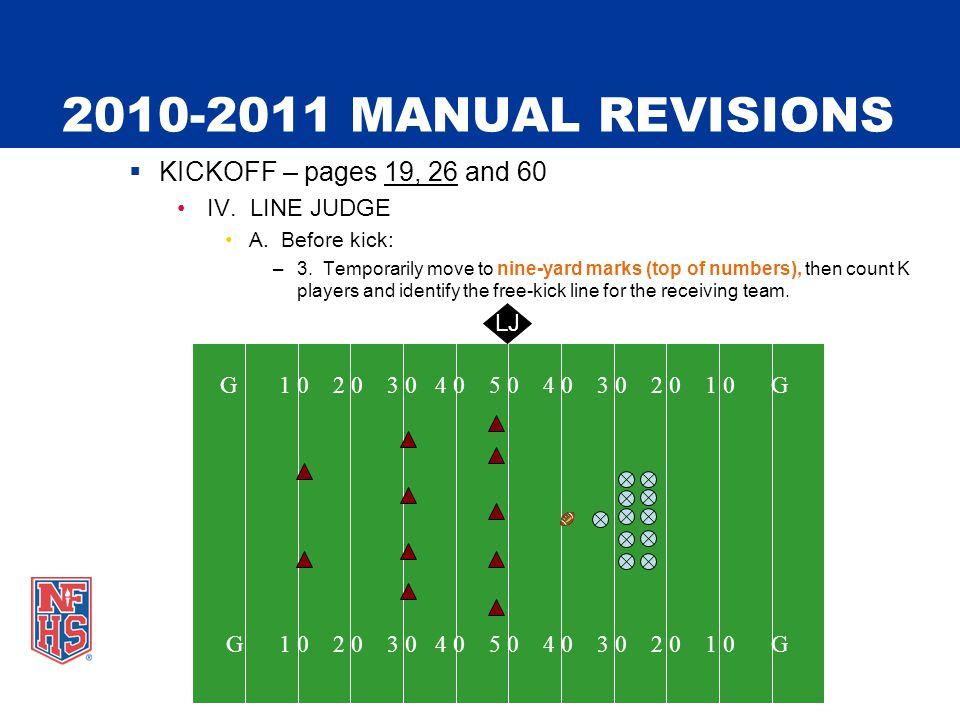 2010-2011 MANUAL REVISIONS  KICKOFF – pages 19, 26 and 60 IV.