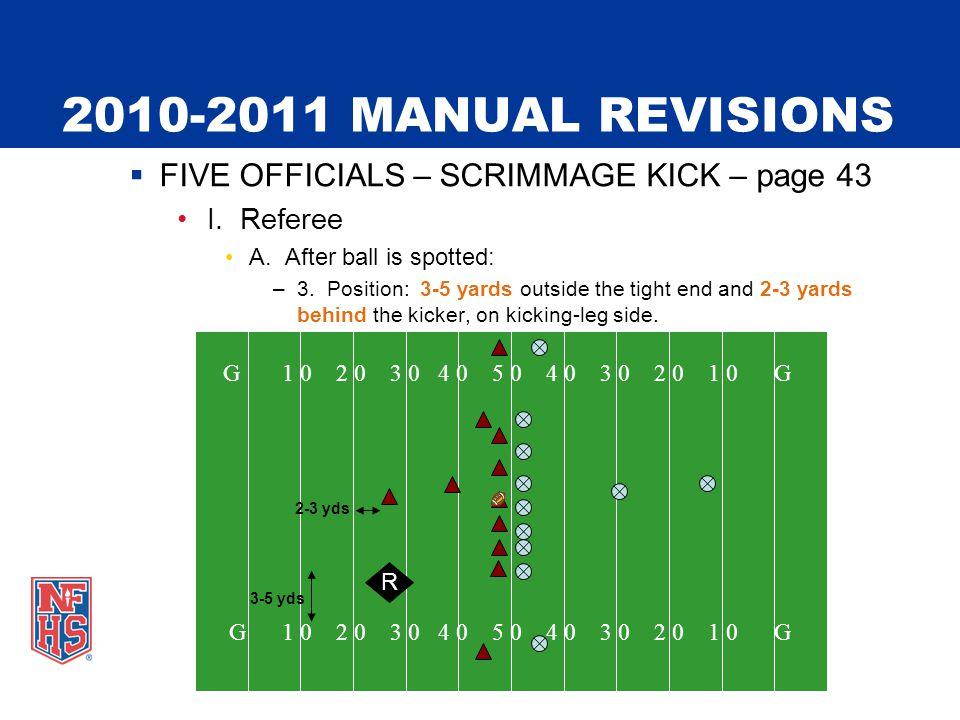 2010-2011 MANUAL REVISIONS  FIVE OFFICIALS – SCRIMMAGE KICK – page 43 I.