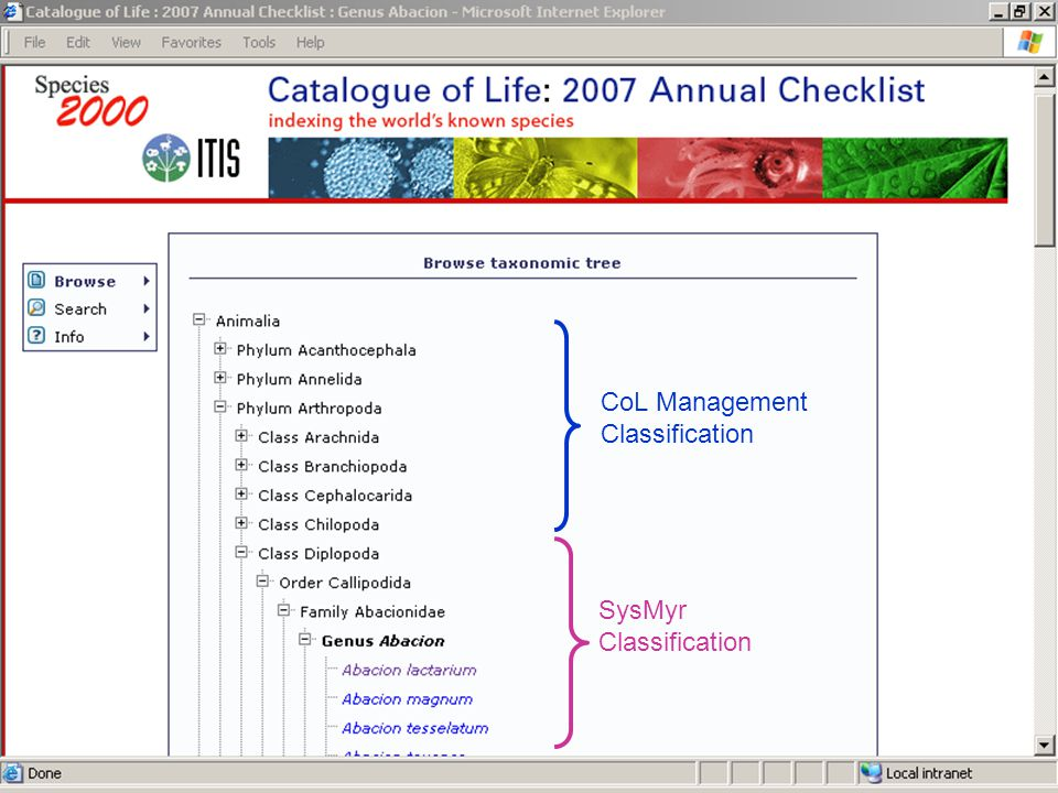 CoL Management Classification SysMyr Classification
