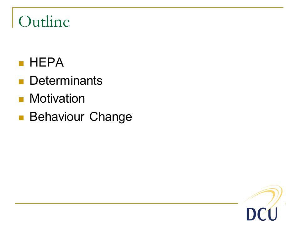 Outline HEPA Determinants Motivation Behaviour Change