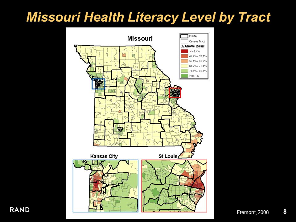 9 Fremont, 2008 St. Louis Health Literacy Level by Tract