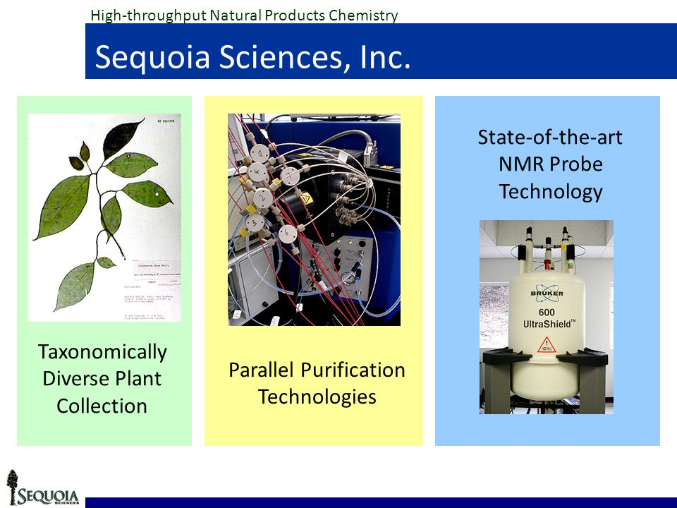 Parallel Purification Technologies State-of-the-art NMR Probe Technology Taxonomically Diverse Plant Collection High-throughput Natural Products Chemistry Sequoia Sciences, Inc.