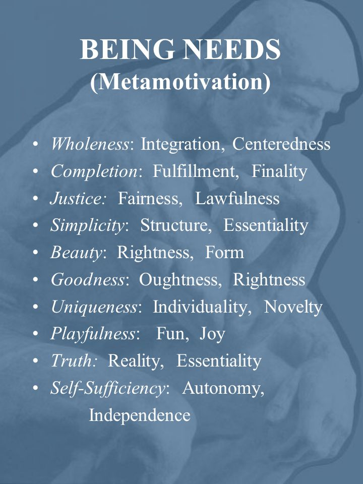 BEING NEEDS (Metamotivation) Wholeness: Integration, Centeredness Completion: Fulfillment, Finality Justice: Fairness, Lawfulness Simplicity: Structure, Essentiality Beauty: Rightness, Form Goodness: Oughtness, Rightness Uniqueness: Individuality, Novelty Playfulness: Fun, Joy Truth: Reality, Essentiality Self-Sufficiency: Autonomy, Independence