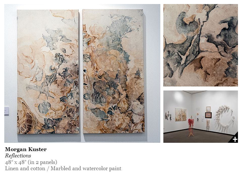 """Morgan Kuster Reflections 48"""" x 48"""" (in 2 panels) Linen and cotton / Marbled and watercolor paint"""