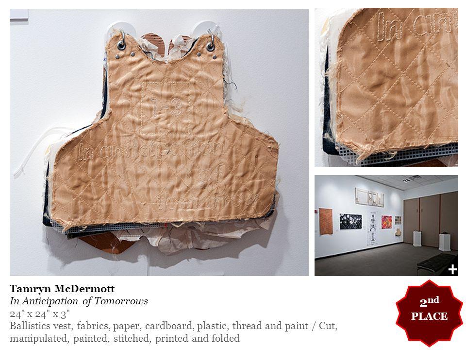 "Tamryn McDermott In Anticipation of Tomorrows 24"" x 24"" x 3"" Ballistics vest, fabrics, paper, cardboard, plastic, thread and paint / Cut, manipulated,"