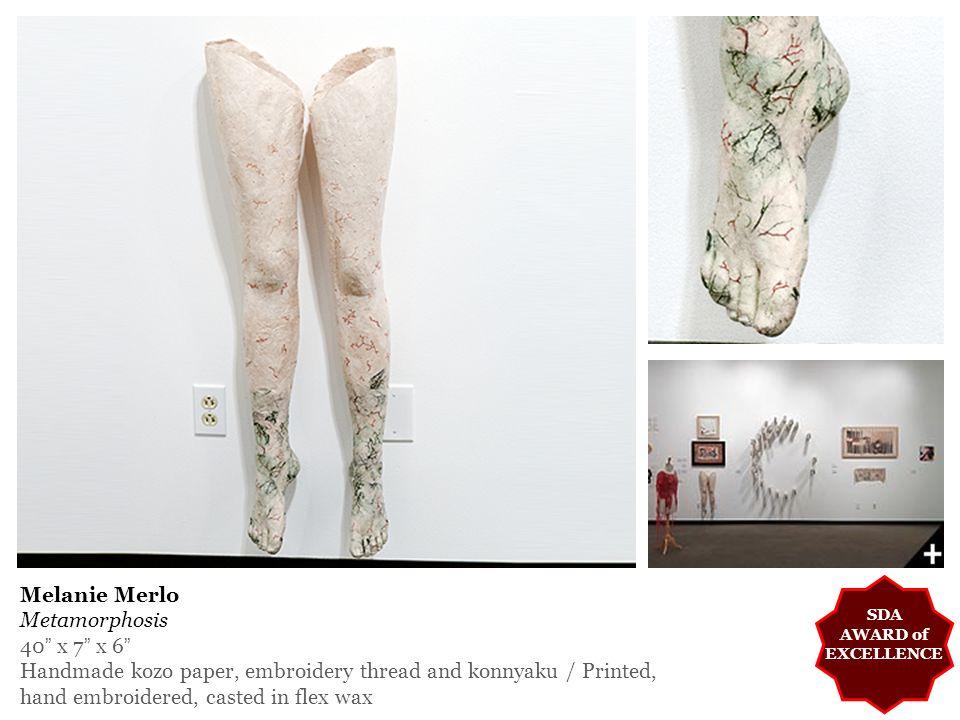 Melanie Merlo Metamorphosis 40 x 7 x 6 Handmade kozo paper, embroidery thread and konnyaku / Printed, hand embroidered, casted in flex wax SDA AWARD of EXCELLENCE