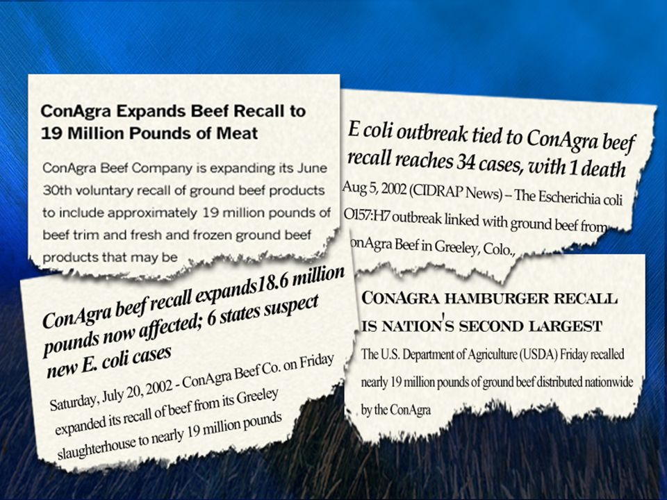 Consumers may not react to recalls as they once did - Litigation is always a risk This is an economic stimulus as is Brand Equity risk Tyson has issued 2 unrelated ground beef recalls (hamburger recalls) in 2007.