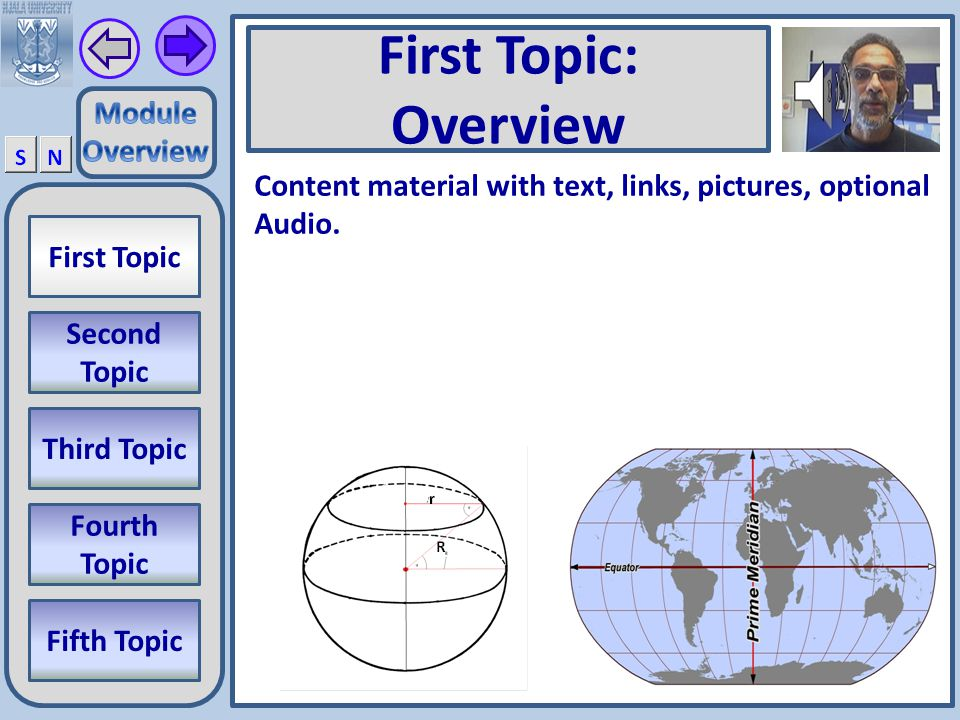 M0_02 First Topic Second Topic Third Topic Fourth Topic Fifth Topic Home Slide Title of Current Module General Overview of Current Module.