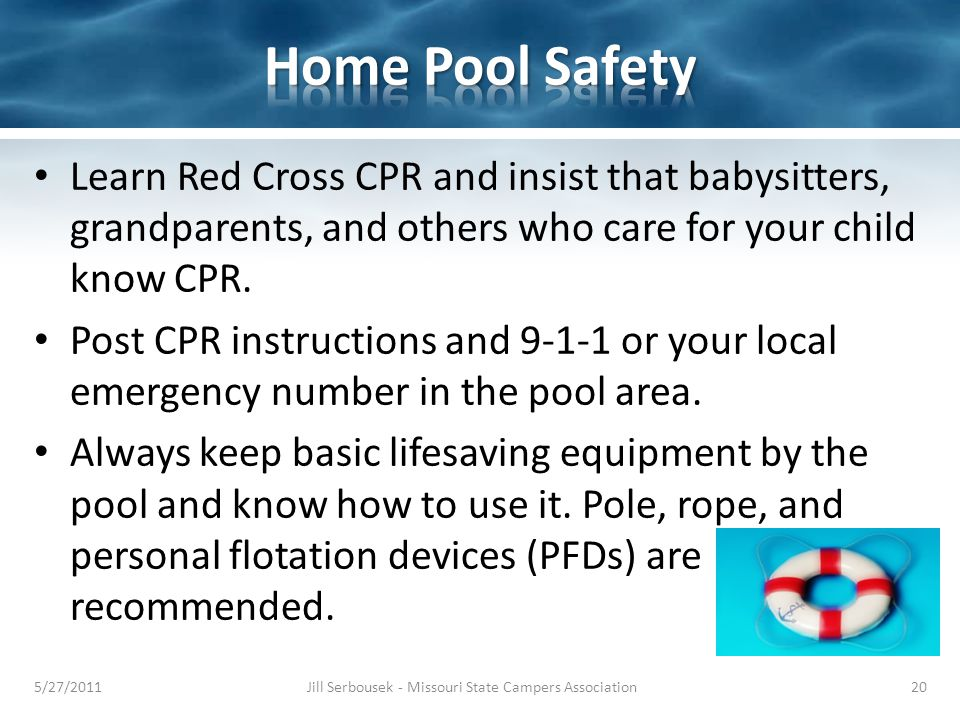 Learn Red Cross CPR and insist that babysitters, grandparents, and others who care for your child know CPR. Post CPR instructions and 9-1-1 or your lo