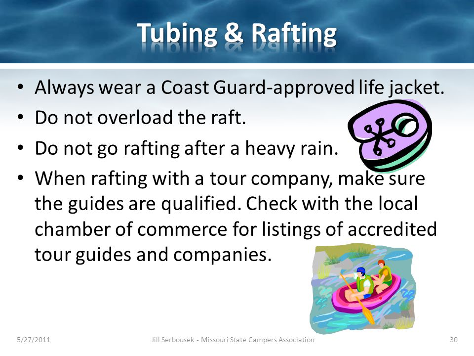 Always wear a Coast Guard-approved life jacket. Do not overload the raft.