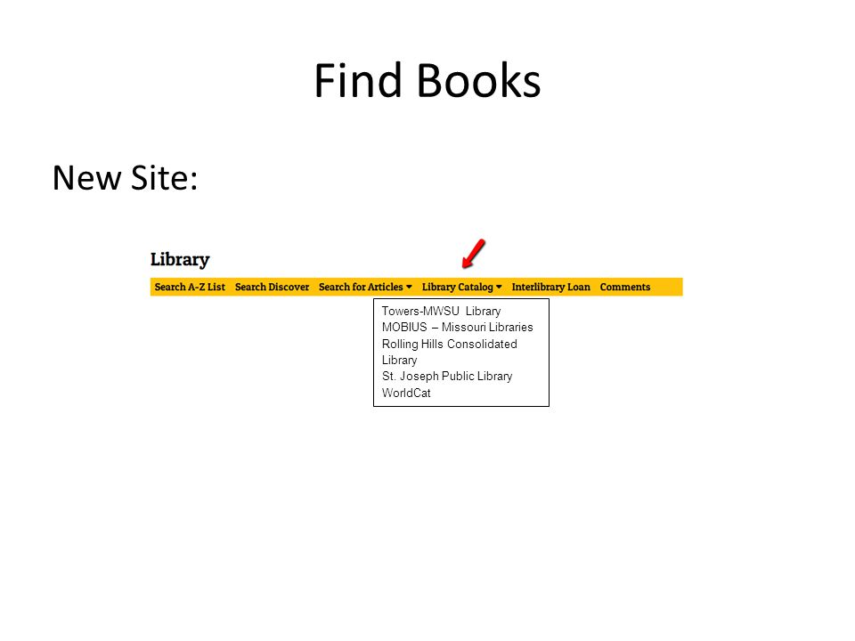 Find Books New Site: Towers-MWSU Library MOBIUS – Missouri Libraries Rolling Hills Consolidated Library St.