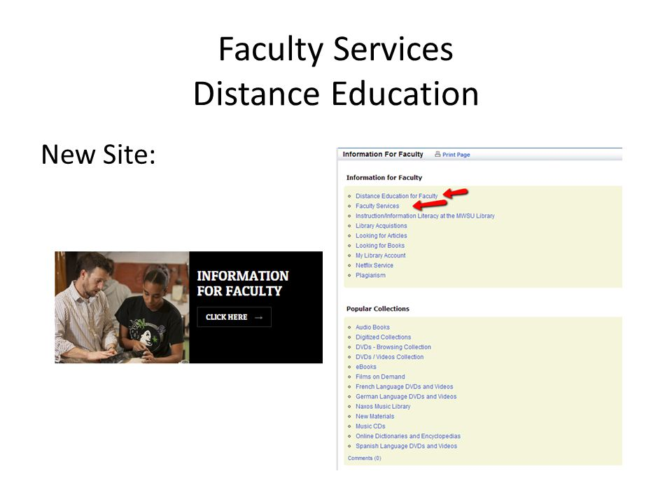 New Site: Faculty Services Distance Education