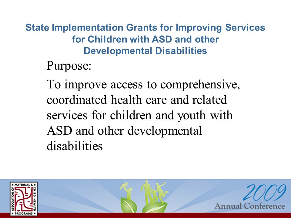 State Implementation Grants for Improving Services for Children with ASD and other Developmental Disabilities Purpose: To improve access to comprehensive, coordinated health care and related services for children and youth with ASD and other developmental disabilities
