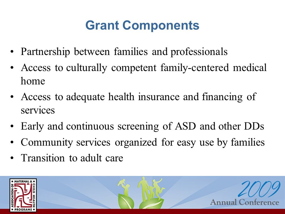 Grant Components Partnership between families and professionals Access to culturally competent family-centered medical home Access to adequate health insurance and financing of services Early and continuous screening of ASD and other DDs Community services organized for easy use by families Transition to adult care