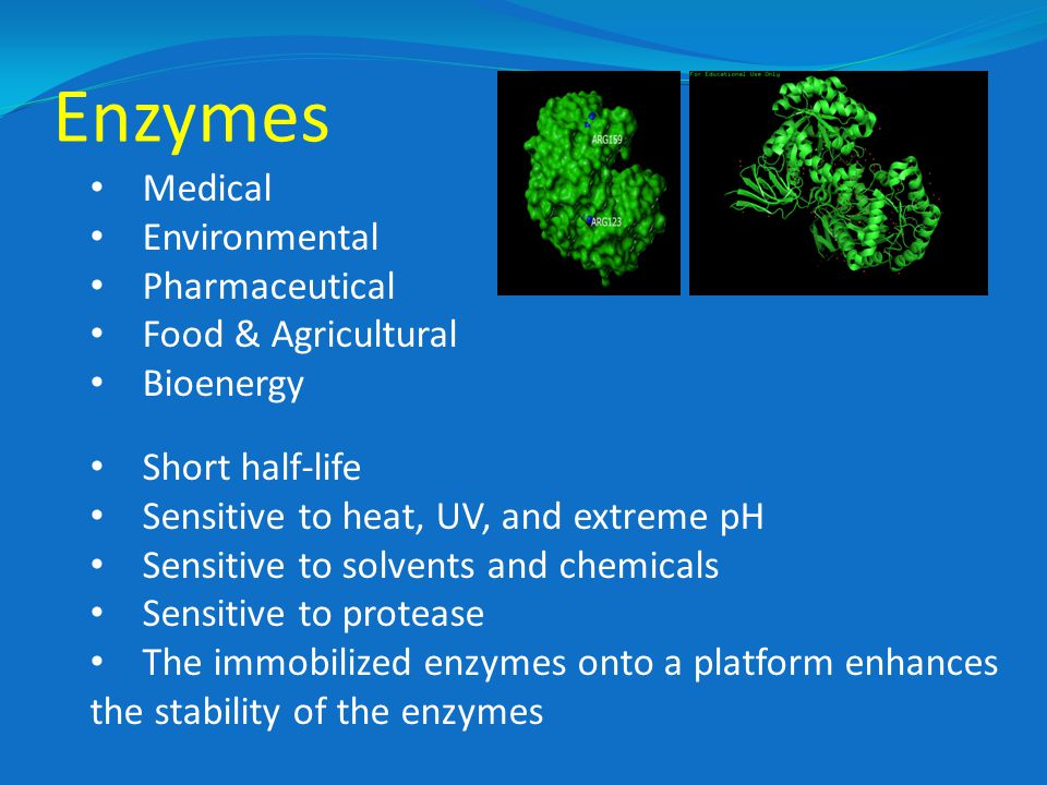 Enzymes Medical Environmental Pharmaceutical Food & Agricultural Bioenergy Short half-life Sensitive to heat, UV, and extreme pH Sensitive to solvents and chemicals Sensitive to protease The immobilized enzymes onto a platform enhances the stability of the enzymes