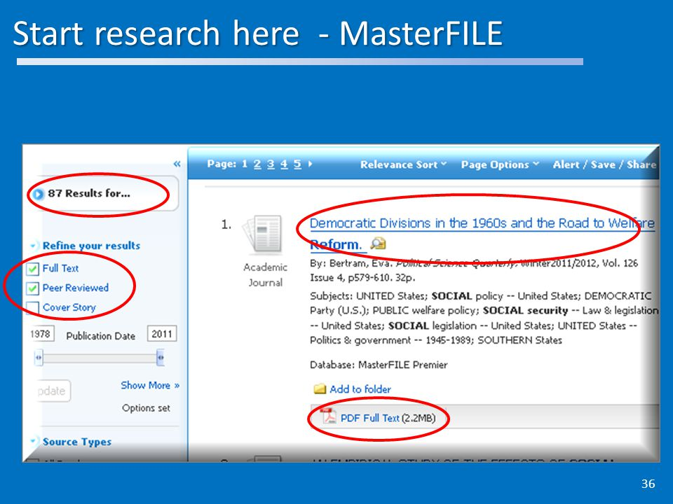 Start research here - MasterFILE 36