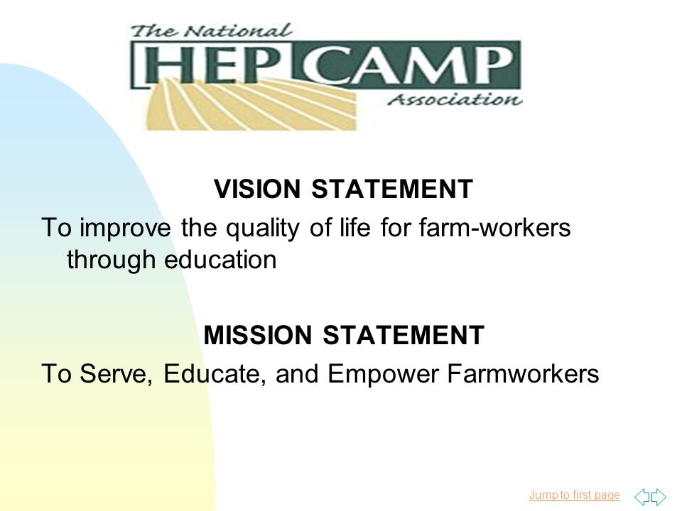 Jump to first page HEP/CAMP Presentation Objective u To provide a summary of the National HEP/CAMP Association u To provide a geographic overview of the HEP/CAMP programs nation-wide