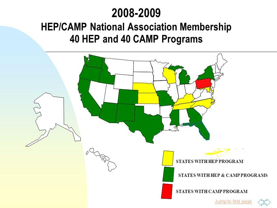 Jump to first page HEP/CAMP Programs # HEP Programs by State n Texas 7 n Wisconsin 2 n California 7 n Washington 4 n Florida 2 n Georgia 1 n New York 1 n N.
