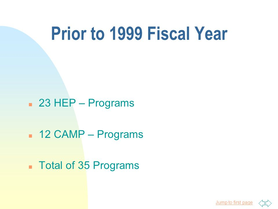 Jump to first page HEP-CAMP Funding Allocation in Millions 1999 -2010