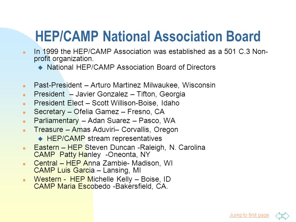 Jump to first page Board Member Elections n Association General Memberships – Open to all OME HEP/CAMP funded programs and staff.