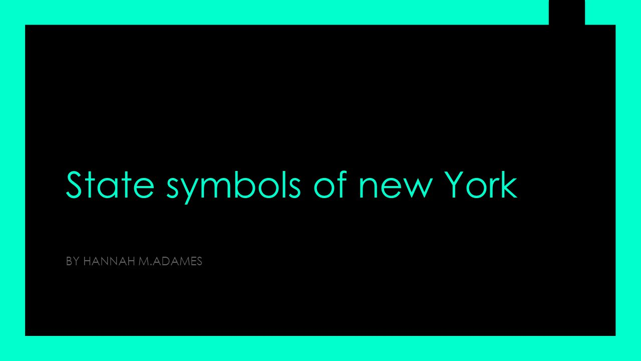 State symbols of new York BY HANNAH M.ADAMES