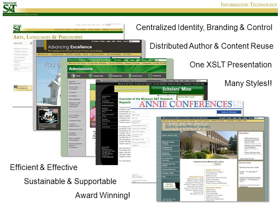 One XSLT Presentation Many Styles!! Centralized Identity, Branding & Control Distributed Author & Content Reuse Efficient & Effective Award Winning! S
