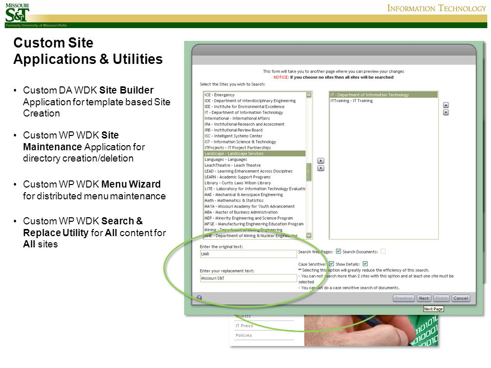 Custom Site Applications & Utilities Custom DA WDK Site Builder Application for template based Site Creation Custom WP WDK Site Maintenance Applicatio