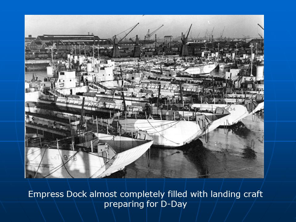 Empress Dock almost completely filled with landing craft preparing for D-Day