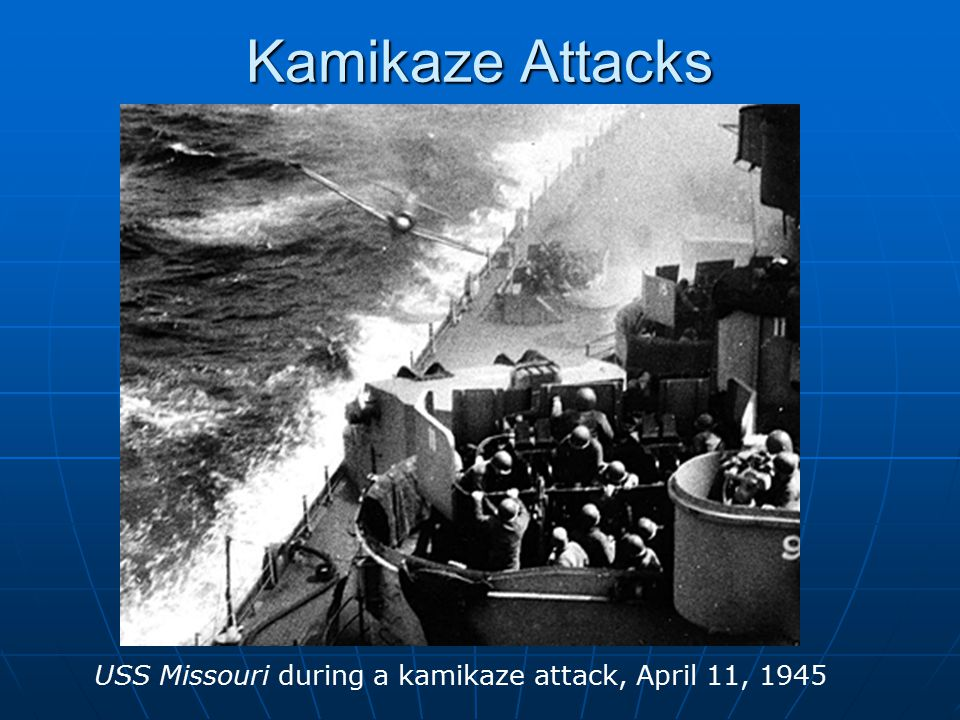 Kamikaze Attacks USS Missouri during a kamikaze attack, April 11, 1945