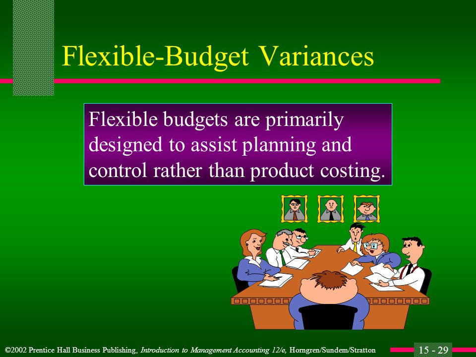 ©2002 Prentice Hall Business Publishing, Introduction to Management Accounting 12/e, Horngren/Sundem/Stratton 15 - 29 Flexible-Budget Variances Flexible budgets are primarily designed to assist planning and control rather than product costing.
