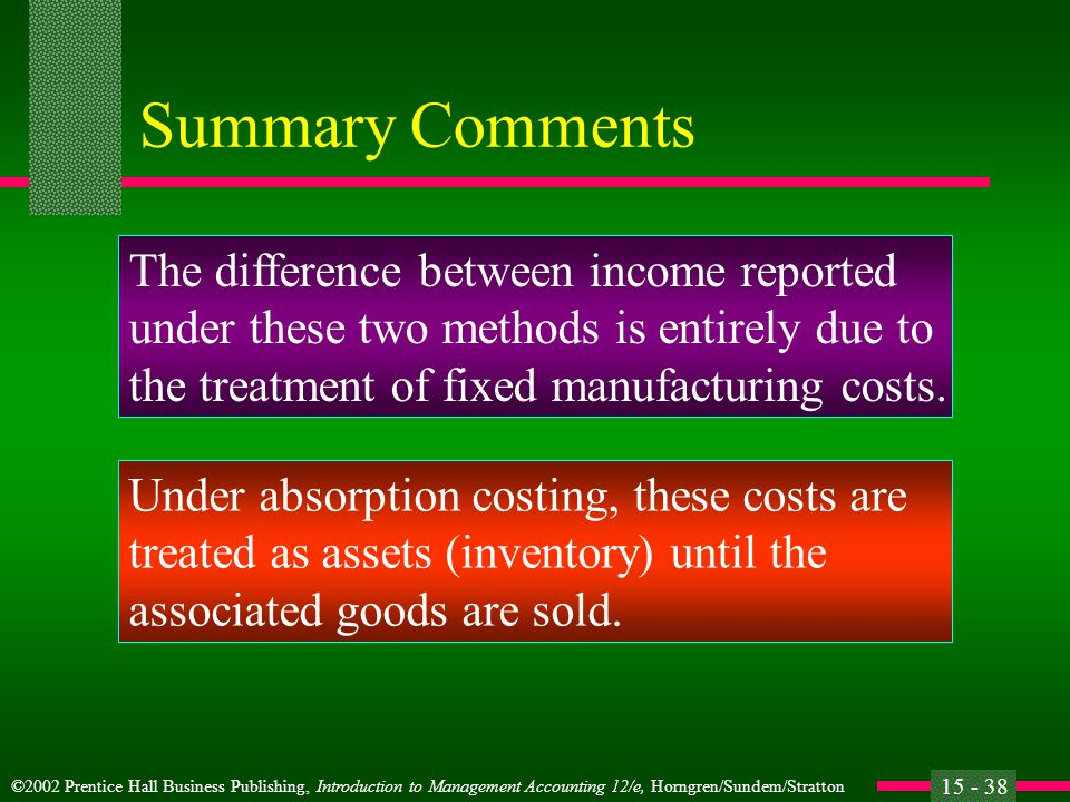 ©2002 Prentice Hall Business Publishing, Introduction to Management Accounting 12/e, Horngren/Sundem/Stratton 15 - 38 Summary Comments The difference between income reported under these two methods is entirely due to the treatment of fixed manufacturing costs.